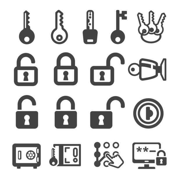 key,lock icon key,lock icon set,vector illustration locking stock illustrations