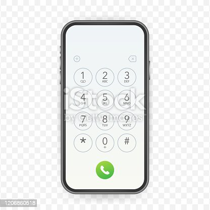 Keypad for on smartphone screen. Application Interface on mobile phone. Vector stock illustration