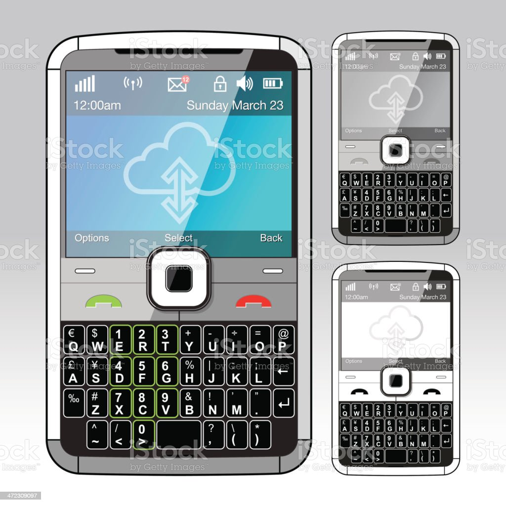 KeyPad Mobile Handset - Front view only royalty-free stock vector art