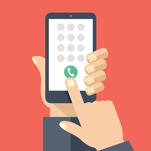 Keypad on smartphone screen. Mobile phone call. Flat vector illustration Keypad on smartphone screen. Mobile phone call. Hand holds smartphone, finger touches screen. Modern concept for web banners, web sites, infographics. Creative flat design vector illustration dial stock illustrations