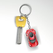 Keyring with yellow key and red sport car