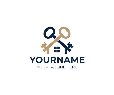Keys and house logo design. Real estate and sale property vector design. Mortgage business illustration