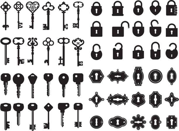 ilustrações, clipart, desenhos animados e ícones de chaves e buraco da fechadura. coleção do logotipo de chaves de casa modernas e retros segredo portão cadeado vector emblemas - chave