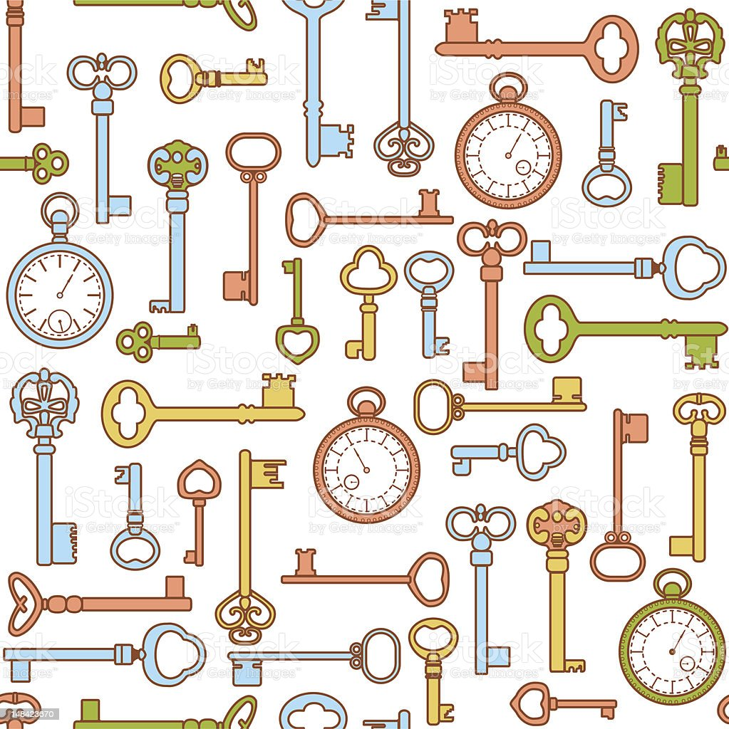 Keys and watch pattern royalty-free keys and watch pattern stock vector art & more images of antique