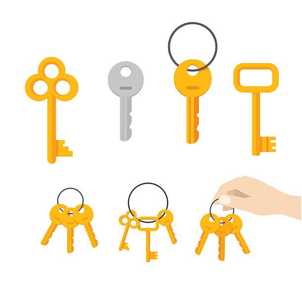 ilustrações, clipart, desenhos animados e ícones de chaves do grupo vetor, chave pendurada no anel, chaveiro de mão - chave