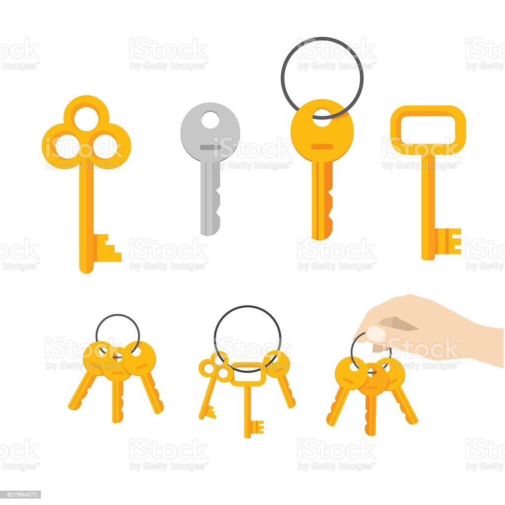 Keys bunch vector, key hanging on ring, hand holding keychain vector art illustration