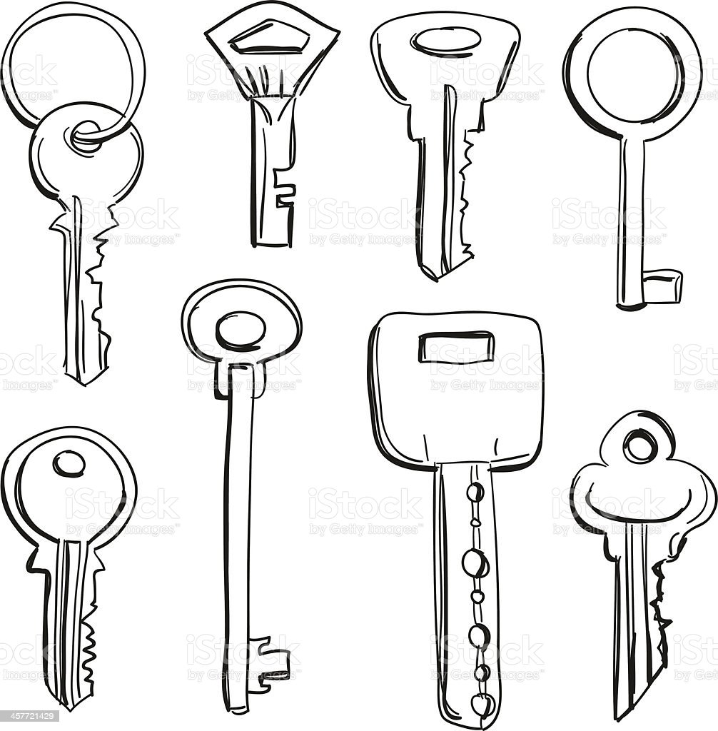 Keys collection in black and white vector art illustration