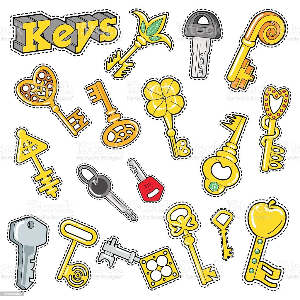 Keys Decorative Elements for Scrapbook Stickers, Patches, Badges royalty-free keys decorative elements for scrapbook stickers patches badges stock vector art & more images of arts culture and entertainment