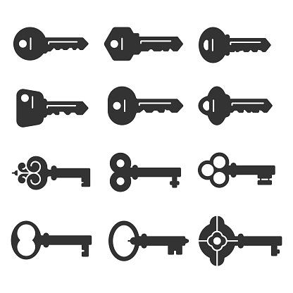 Keys Flat Icon Set Vector Design on White Background.