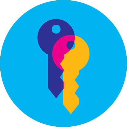 Vector illustration of two keys overlapped against a blue background.