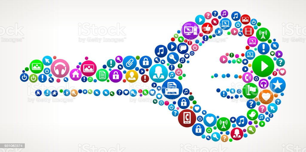 Keys Internet Communication Technology Icon Pattern vector art illustration