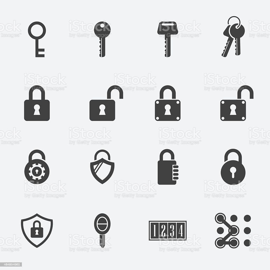 keys Lock vector icons vector art illustration