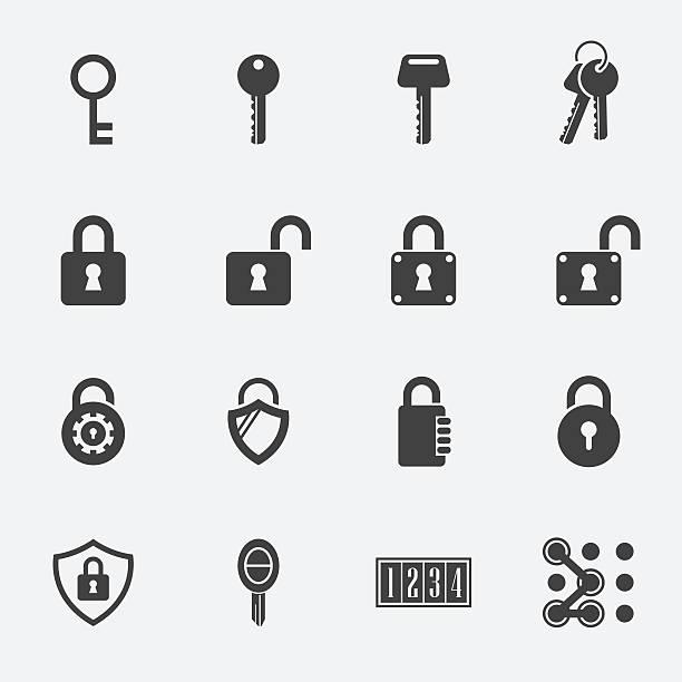 stockillustraties, clipart, cartoons en iconen met keys lock vector icons - hangslot
