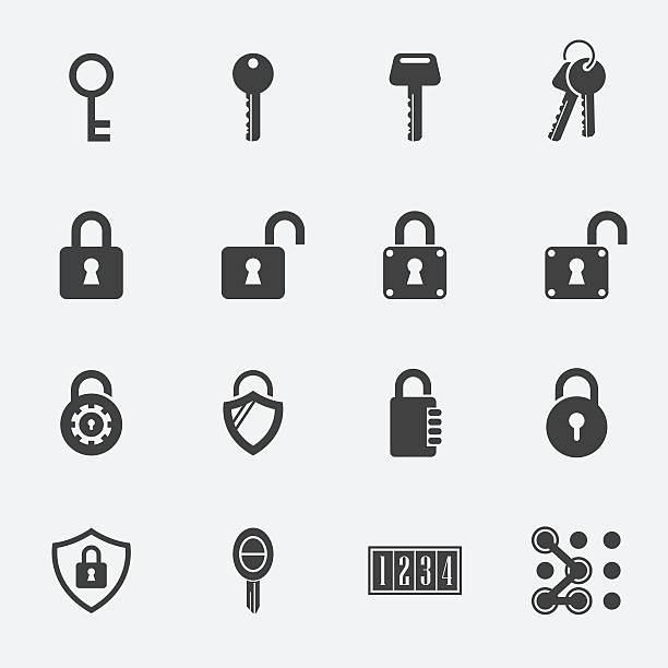 keys Lock vector icons keys Lock vector icons padlock stock illustrations