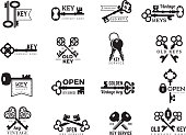 Keys logotype. Real estate badges door and gate access symbols silhouettes of ornate and modern steel keys vector collection. Illustration of key silhouette company name, antique keys logo