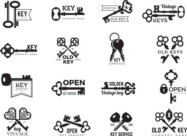 ilustrações, clipart, desenhos animados e ícones de logotype das chaves. a porta dos emblemas dos bens imobiliários e o acesso da porta silhuetas dos símbolos da coleção de aço ornamentado e moderna do vetor - chave