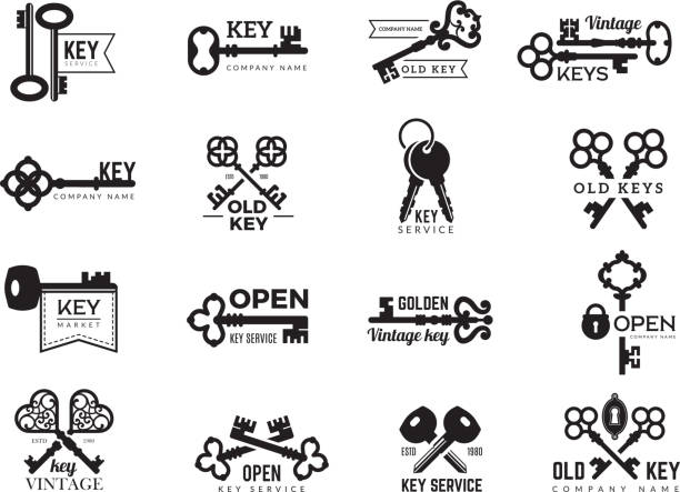 keys logotype. real estate badges door and gate access symbols silhouettes of ornate and modern steel keys vector collection - klucz stock illustrations