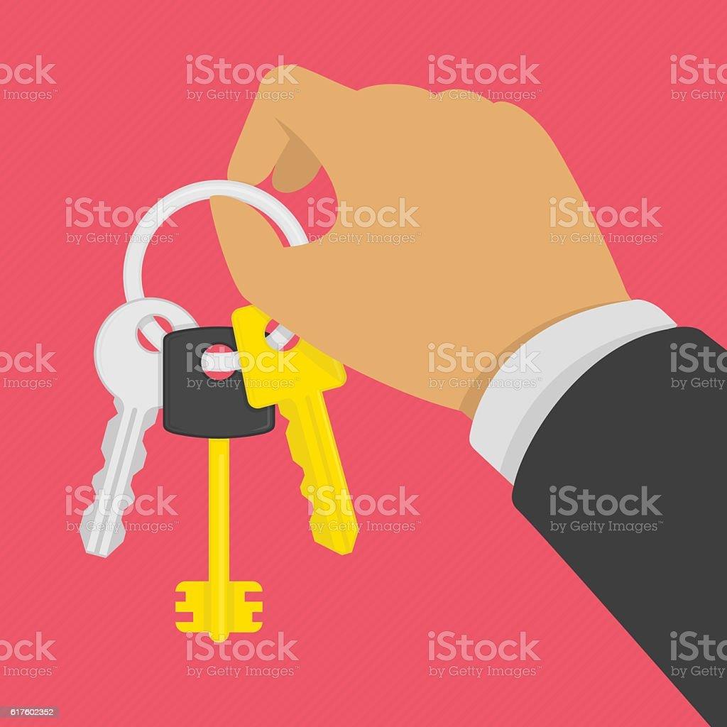Keys on key ring in hand. vector art illustration