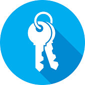 Vector illustration of a blue set of keys icon in flat style.