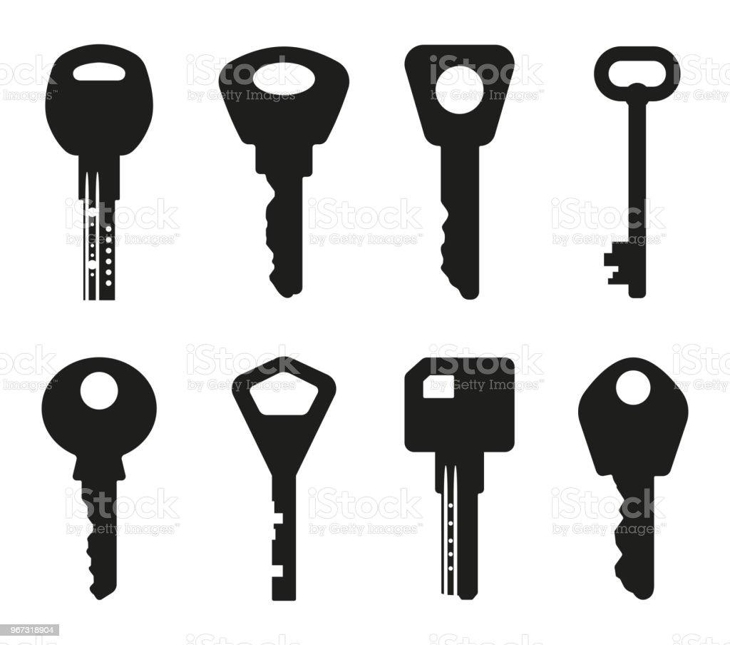 Vector Key Illustration: Keys Silhouette Collection Key Icon Vector Illustration