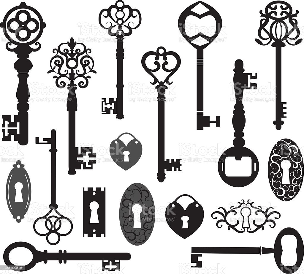Keys Silhouette vector art illustration