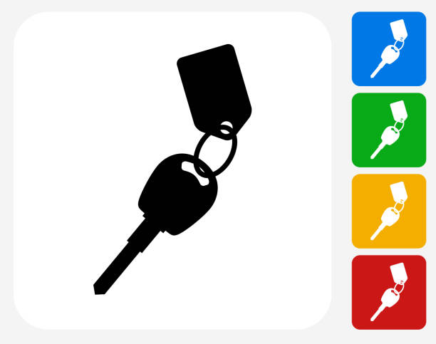 Keys with Keychain Icon Flat Graphic Design Keys with Keychain Icon. This 100% royalty free vector illustration features the main icon pictured in black inside a white square. The alternative color options in blue, green, yellow and red are on the right of the icon and are arranged in a vertical column. car key stock illustrations