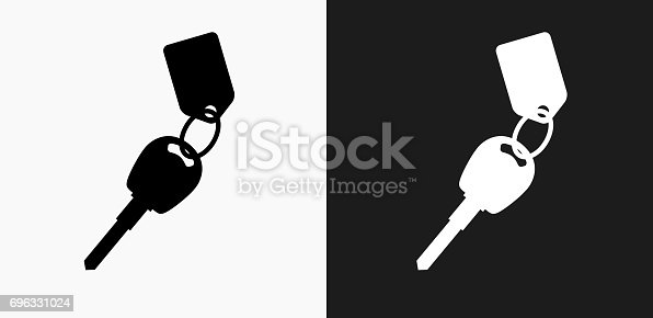 Keys with Keychain Icon on Black and White Vector Backgrounds. This vector illustration includes two variations of the icon one in black on a light background on the left and another version in white on a dark background positioned on the right. The vector icon is simple yet elegant and can be used in a variety of ways including website or mobile application icon. This royalty free image is 100% vector based and all design elements can be scaled to any size.