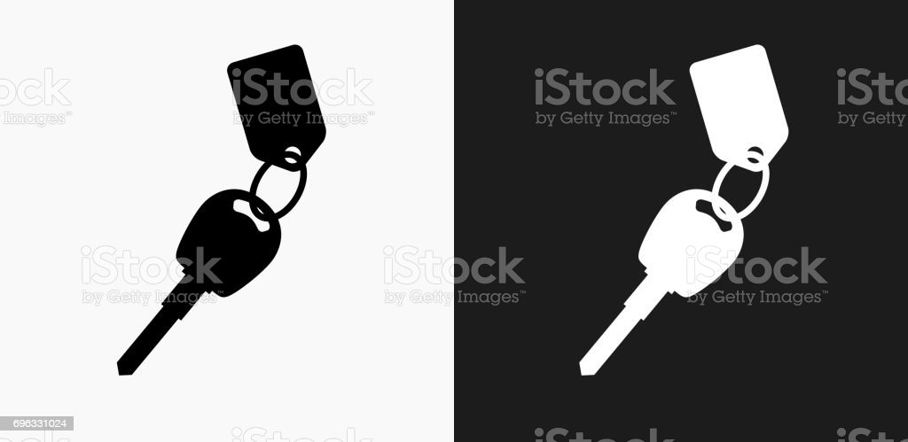 Keys with Keychain Icon on Black and White Vector Backgrounds vector art illustration