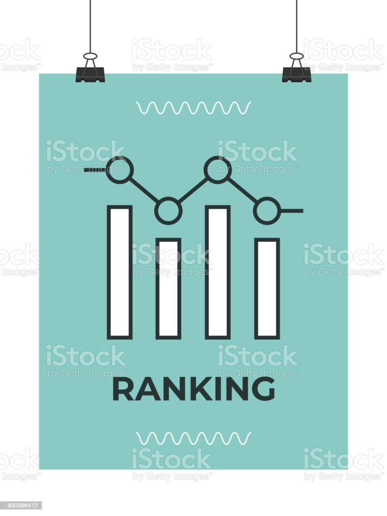 keyword ranking graph icon vector art illustration