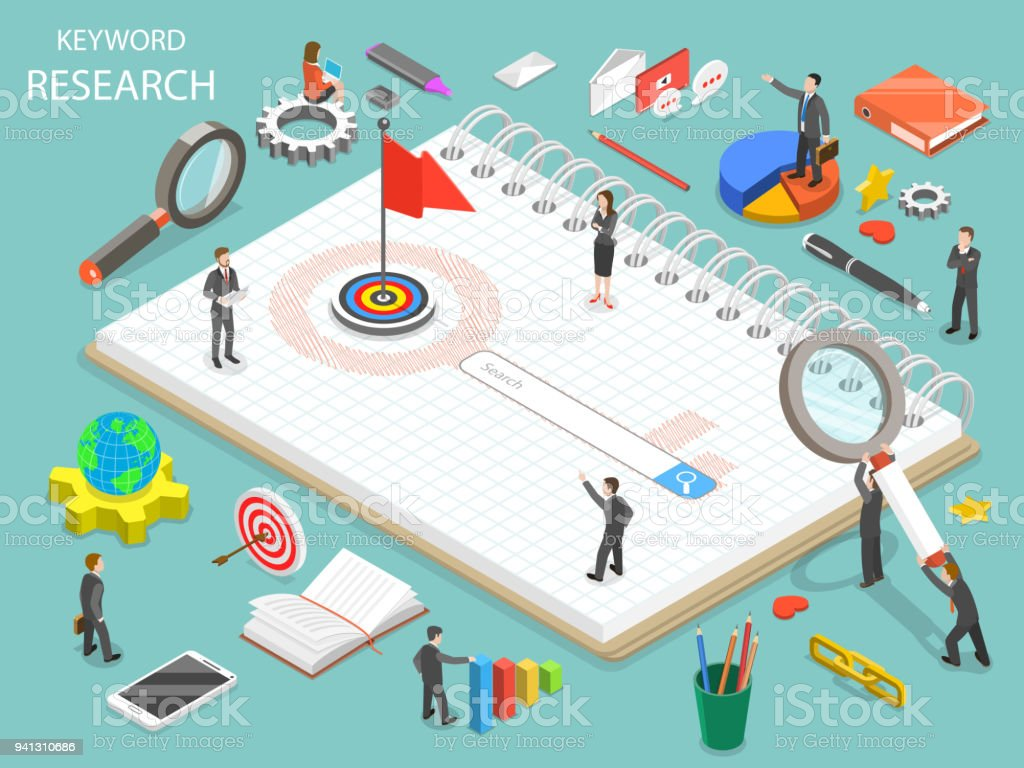 Keyword research flat isometric vector concept. vector art illustration