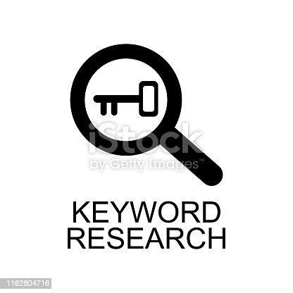 keyword research icon. Element of seo and development icon with name for mobile concept and web apps. Detailed keyword research icon can be used for web and mobile on white background