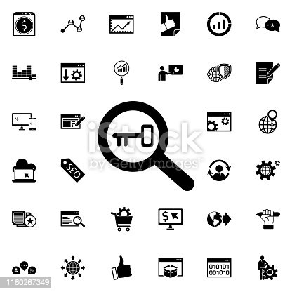 Keyword research icon. Universal set of seo and development for website design and development, app development on white background