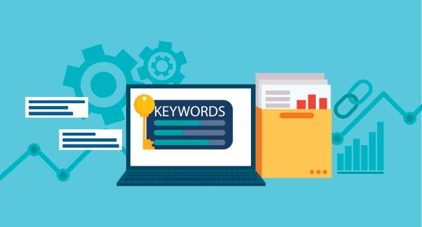Keywords tool word matching program.   Laptop with a folder of documents and graphs and key. Keywords tool word matching program.   Laptop with a folder of documents and graphs and key. Vector flat illustration dictionary stock illustrations