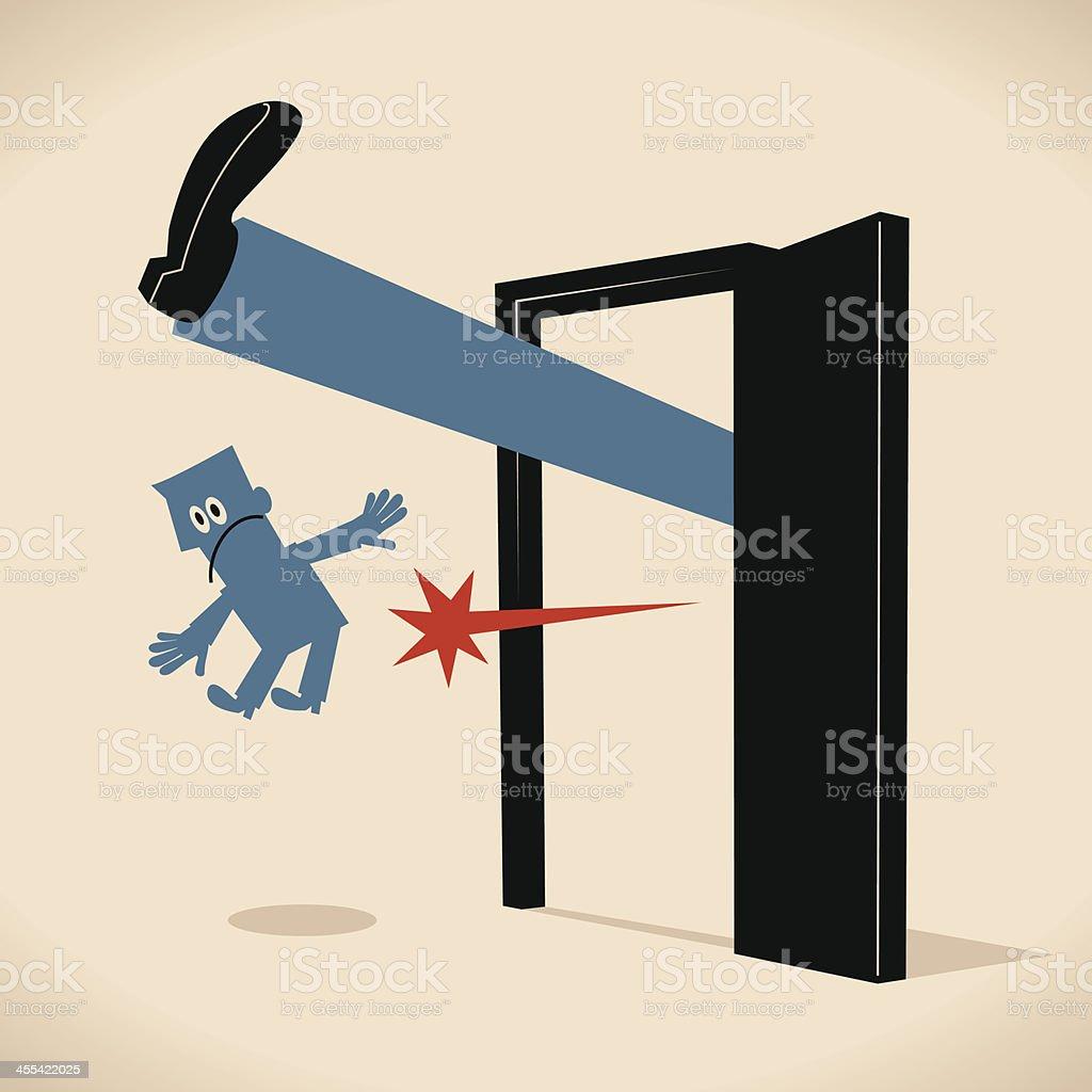 Kick Away! Get Out! vector art illustration