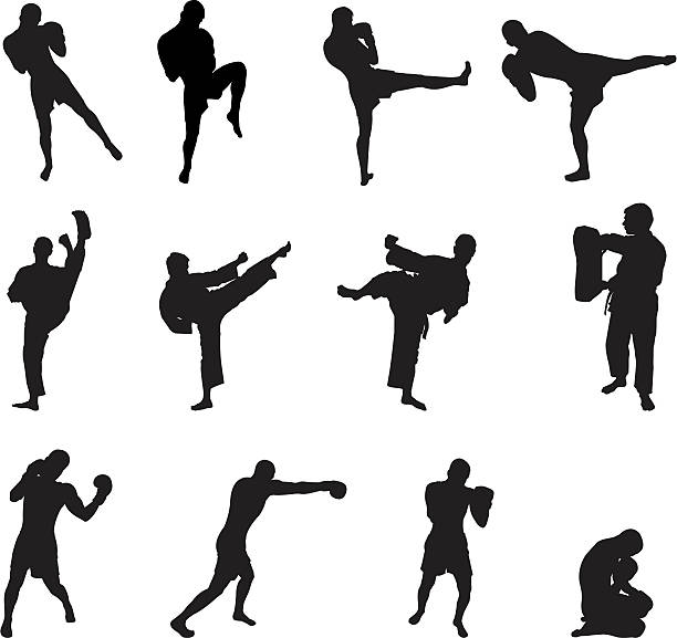 kick boxing - martial arts stock illustrations