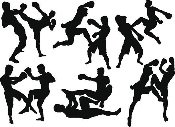 stockillustraties, clipart, cartoons en iconen met kick boxing - kickboksen