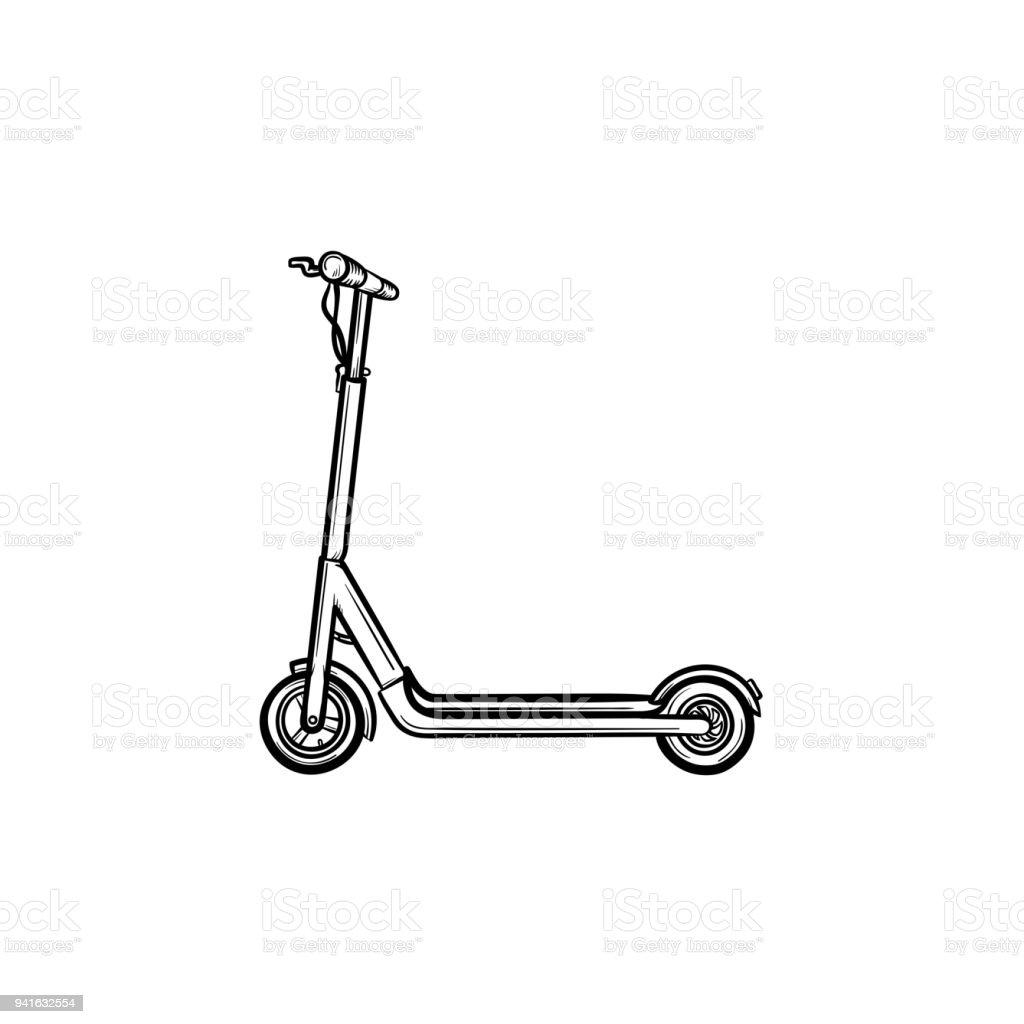 Kick scooter hand drawn sketch icon vector art illustration