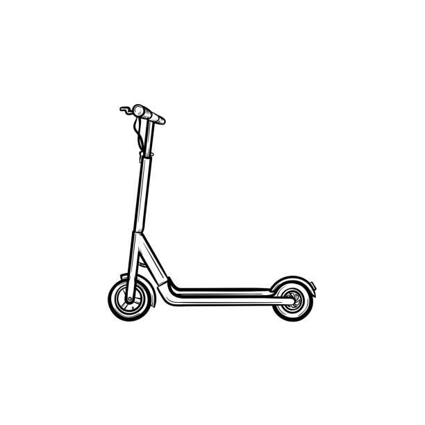 stockillustraties, clipart, cartoons en iconen met kick scooter hand getrokken schets pictogram - step