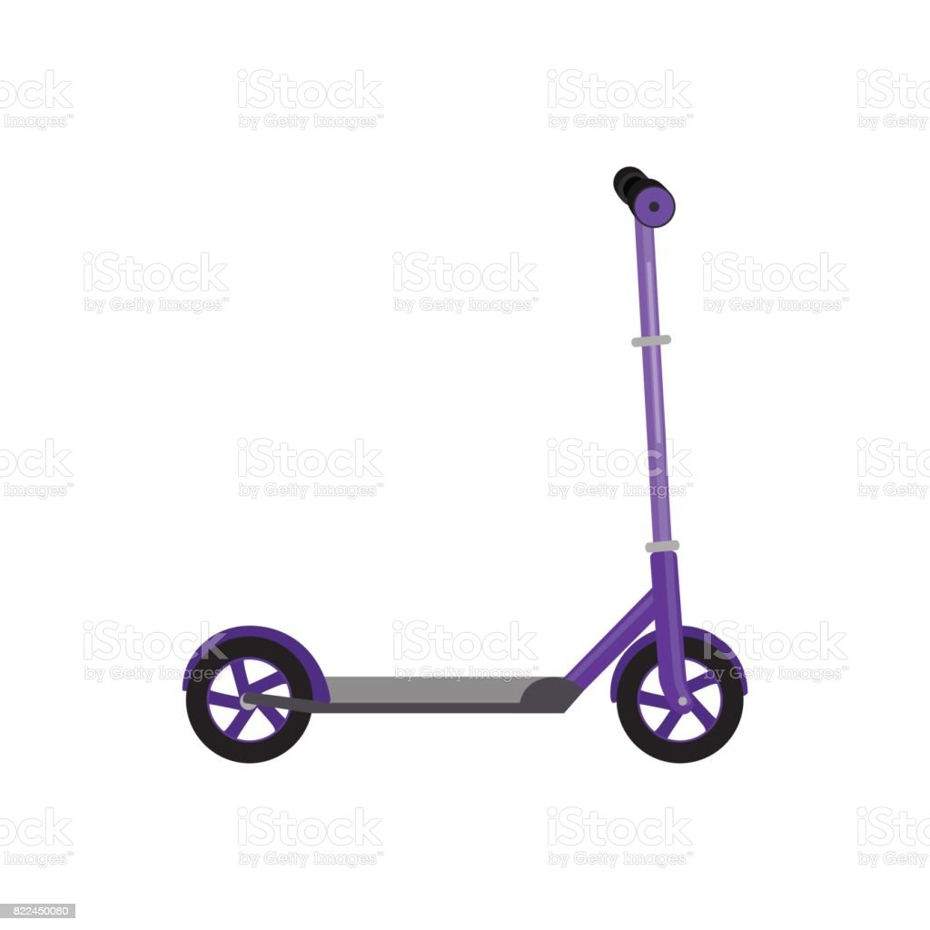 Kick scooter isolated vector illustration, life style activity, sport vehicle toy with wheel, child transport for fun vector art illustration
