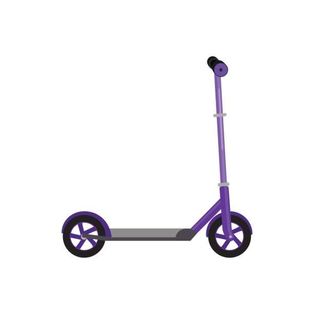 stockillustraties, clipart, cartoons en iconen met kick scooter geïsoleerd vectorillustratie levensstijl activiteit, sport voertuig speelgoed met wielen, kind vervoer voor de lol - step
