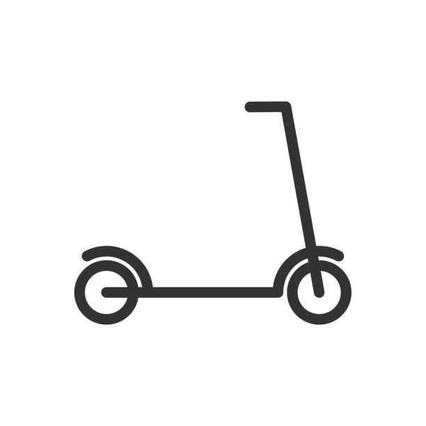 stockillustraties, clipart, cartoons en iconen met kick scooter lijn pictogram. - step