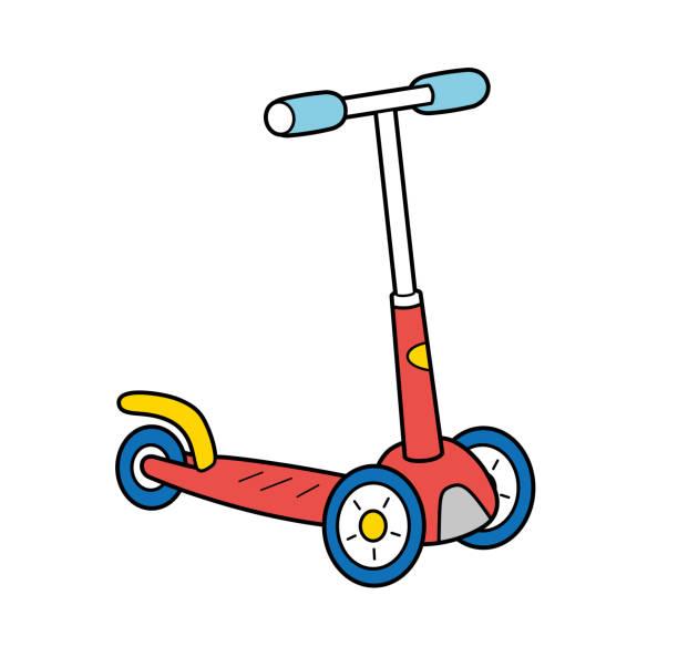 stockillustraties, clipart, cartoons en iconen met kick scooter - step