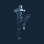 Kickbox Fighter Preparing to Execute a High Kick. Fitness, Sport, Training and Martial Arts Concept. 3D Model of Man. Human Body. Design Element. Vector Illustration.