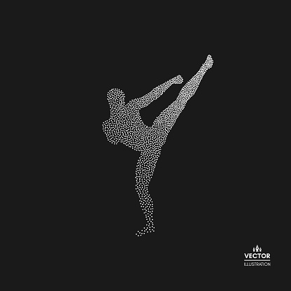 Kickbox fighter preparing to execute a high kick. Silhouette of a fighting man. Dotted silhouette of person. Vector illustration.