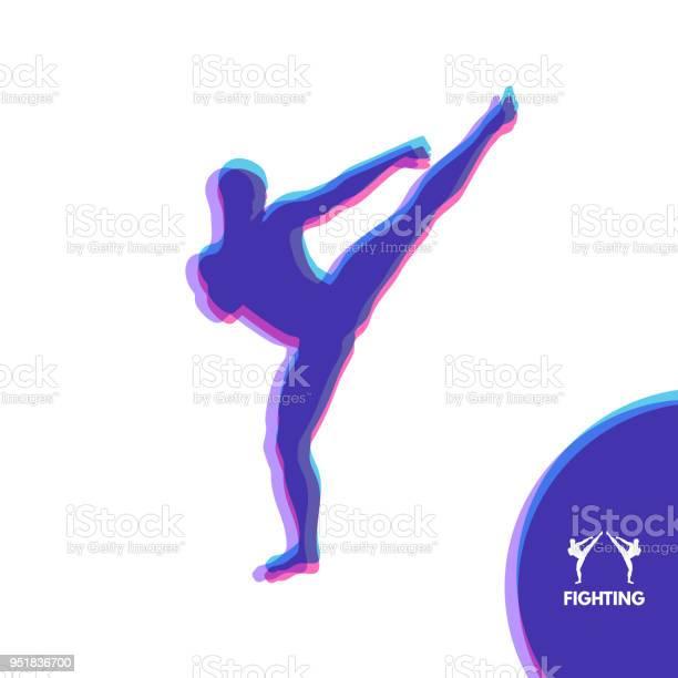 Kickbox Vechter Voorbereidingen Voor Het Uitvoeren Van Een Hoge Trap Silhouet Van Een Gevechten Man Ontwerpsjabloon Voor De Sport Embleem Voor Opleiding Vectorillustratie Stockvectorkunst en meer beelden van Activiteit - Bewegen