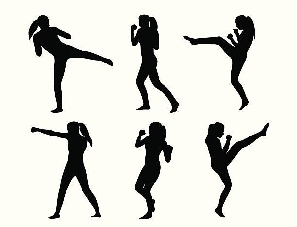 stockillustraties, clipart, cartoons en iconen met kickboxing she vector silhouette - kickboksen