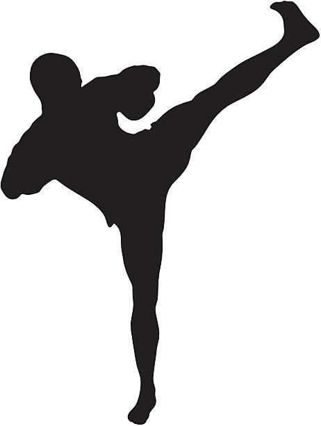 stockillustraties, clipart, cartoons en iconen met kickboxing silhouette - kickboksen