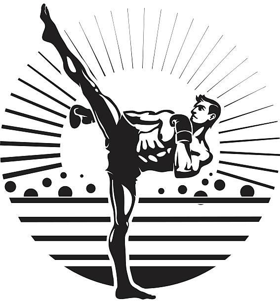 stockillustraties, clipart, cartoons en iconen met kickboxing - kickboksen