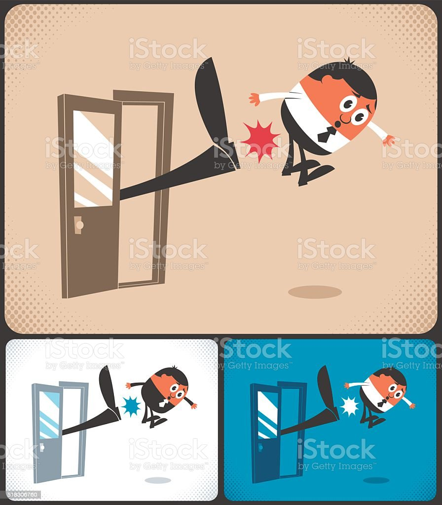 Kicked Out vector art illustration