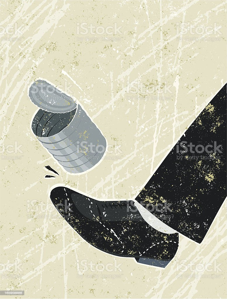 Kicking a Can Down The Road vector art illustration